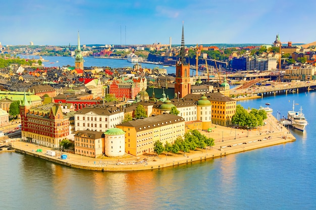 Gamla stan, the old part of stockholm in a sunny summer day, sweden.