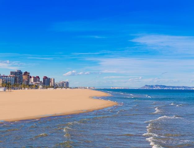 Gandia beach in mediterranean sea