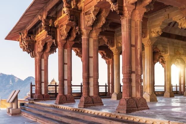Ganesh pol hall in amber fort jaipur, india.