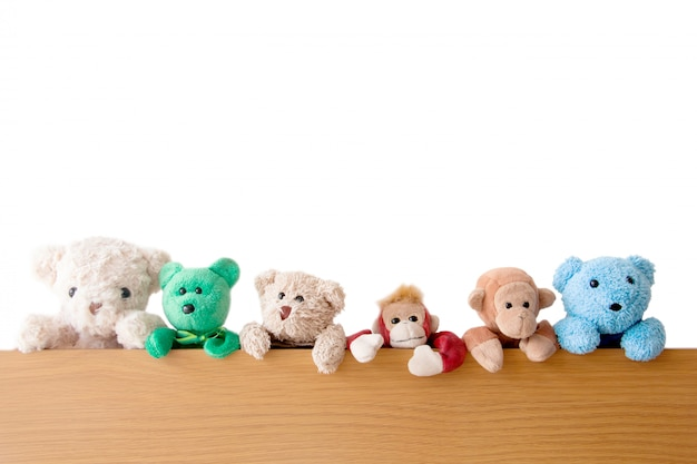 The gang of teddy bears and monkeys are on the wood