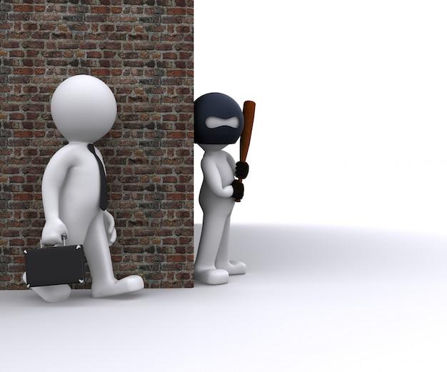 Gangster robbing a businessman