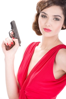 Gangster woman with pistol isolated