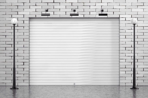 Garage rolling shutter gate door with brick wall and street lights extreme closeup. 3d rendering
