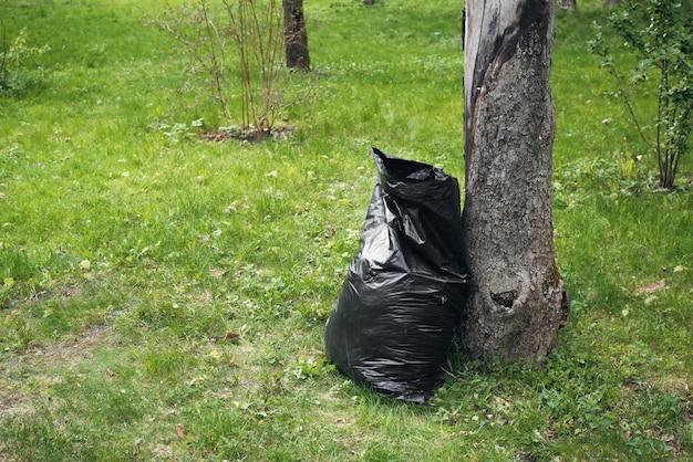 Мешок для мусора возле дерева на зеленой лужайке днем, на открытом воздухе. окружающая среда, экологическая концепция