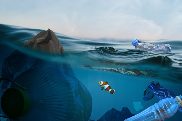 Garbage bag and plastic floating in ocean with small fish