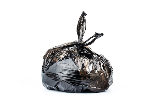 Garbage bag on white