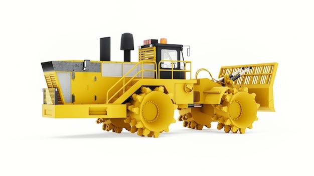 Машина для уплотнения мусора для полигонов. особый тип промышленного бульдозера для работы на свалках. 3d рендеринг.