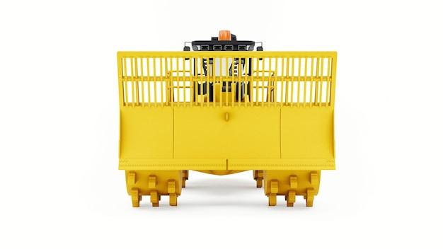 매립용 쓰레기 압축기. 매립지 작업을 위한 특수 유형의 산업용 불도저입니다. 3d 렌더링.