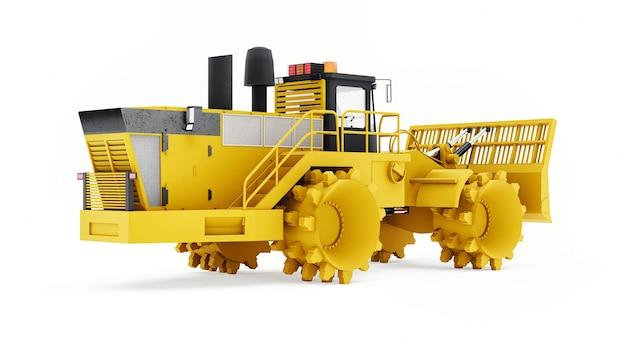 Машина для уплотнения мусора для полигонов. особый тип промышленного бульдозера для работы на свалках. 3d-рендеринг.