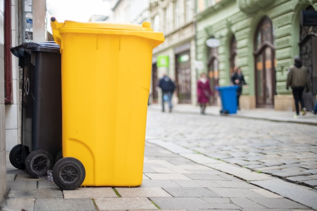 Garbage containers on city streets for sorting waste