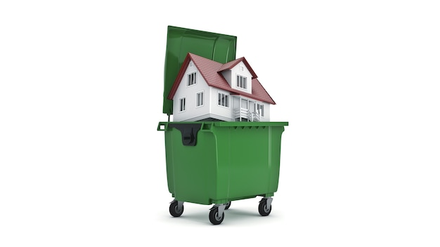 Garbage containers with home 3d rendering