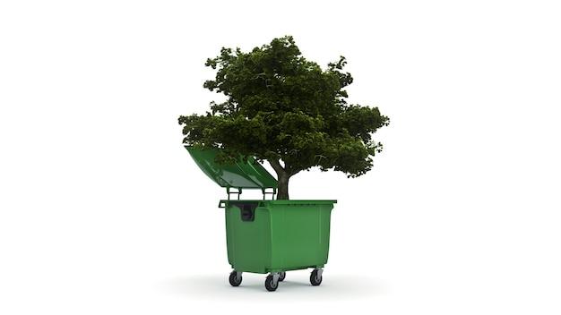 木が付いているごみ容器