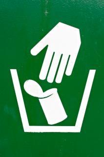 Garbage disposal sign  white