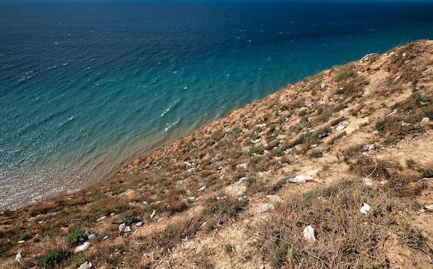 乾いた草の上に海岸に捨てられたゴミ