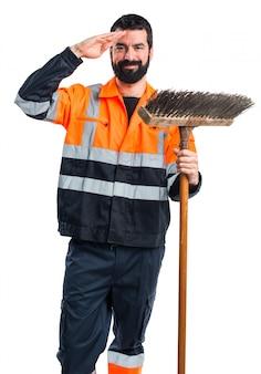 Garbage man saluting