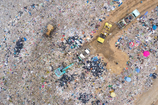 Garbage or waste mountain or landfill