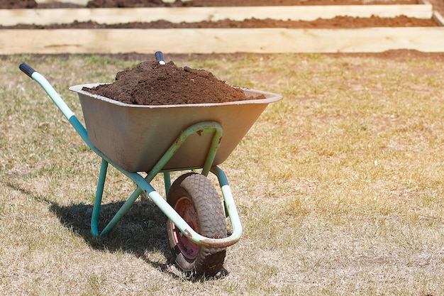 Garden cart with humus and shovel scoop