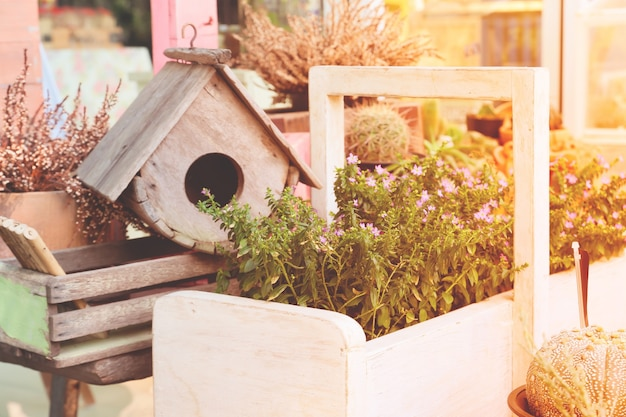 Garden decorations with bird house and small plants with spring season color