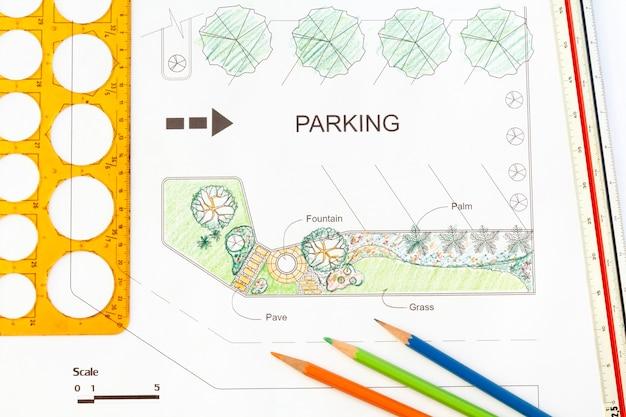 Garden design for parking lot