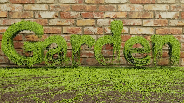 Garden green ivy text growing on brick wall background. 3d rendering