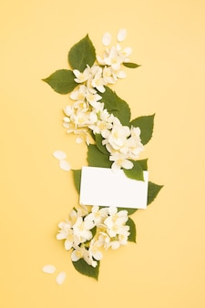 葉と黄色の背景に空白の名刺と庭のジャスミンの花