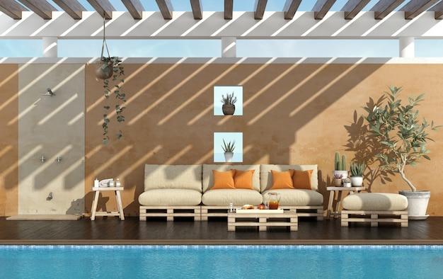 プール付きの夏の家の庭
