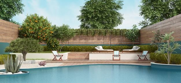 大きなプールと緑豊かな植生がある2階建ての庭園