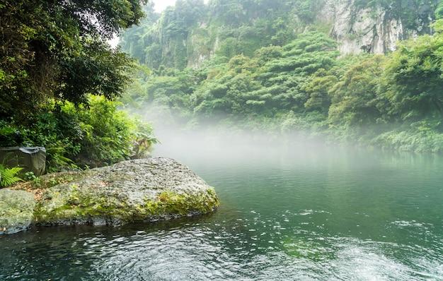 Garden park at cheonjiyeon waterfalls in jeju island