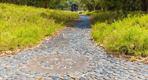Garden path of decorative gray pebbles