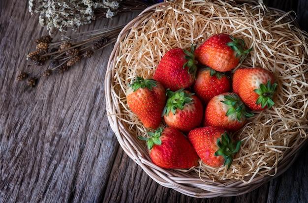 Garden red strawberry fruits.