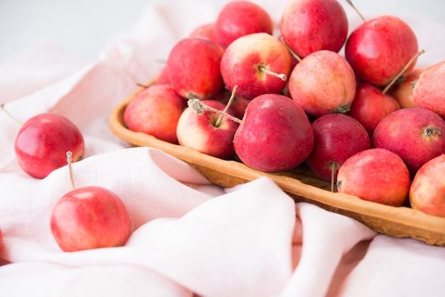 정원, 잘 익은 자연, 에코 그릇에 있는 미니 사과, 선택적 초점