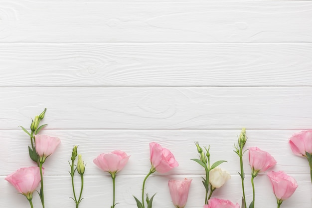 Garden roses on a wooden copy space background