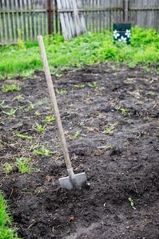 На пашне в дачном саду садовые лопаты и грабли.
