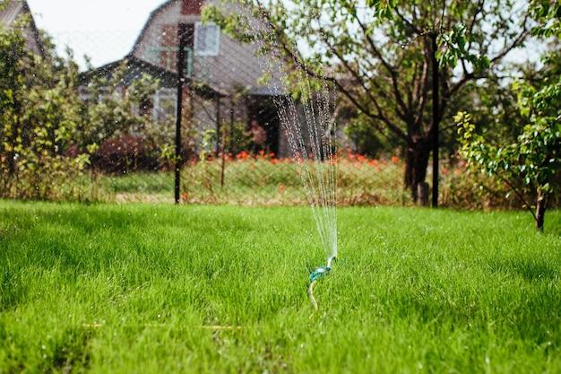 Дождеватель сада орошает газон, озеленение и озеленение