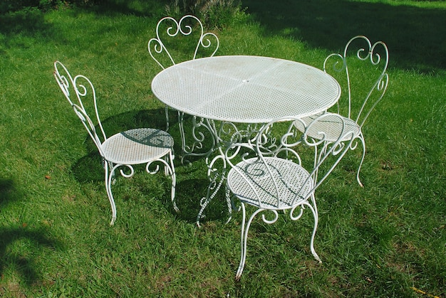 Garden table and chairs in summer