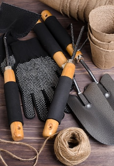 Garden tool and nylon gloves