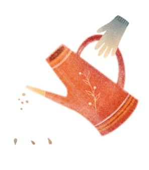 Садовые инструменты лейка семена резиновые перчатки акварельная открытка, изолированные на белом фоне