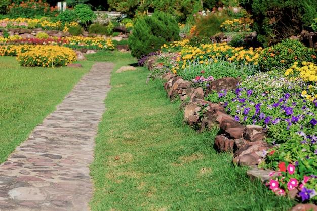 Garden walk with sunlight.
