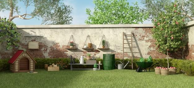 ドッグハウスとガーデニングツールのある庭園
