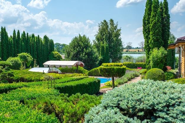 Сад с аккуратно подстриженными кустами и бассейн на заднем дворе