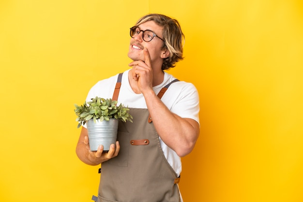 찾는 동안 아이디어를 생각하는 노란색 벽에 고립 된 식물을 들고 정원사 금발 남자