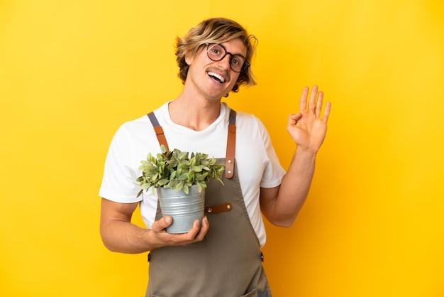 孤立した植物を保持している庭師金髪男