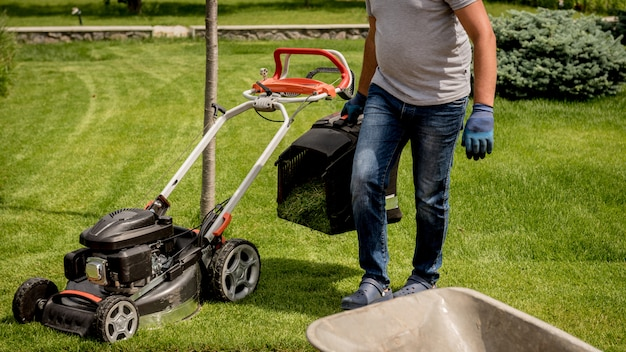 Gardener emptying lawn mower grass into a wheelbarrow after mowing.