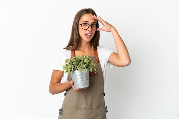 측면을 보면서 깜짝 제스처를 하 고 격리 된 흰색 배경 위에 식물을 들고 정원사 소녀