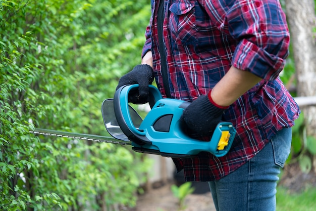 Садовник держит электрический кусторез, чтобы срезать верхушку дерева в саду. увлечение озеленением приусадебного участка.