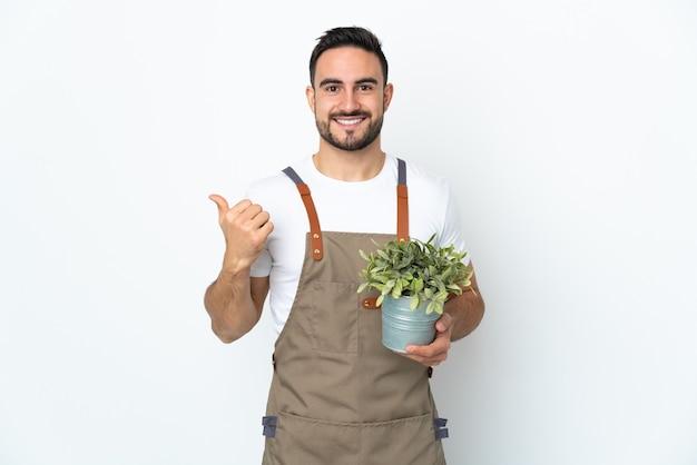 제품을 제시하기 위해 측면을 가리키는 흰 벽에 고립 된 식물을 들고 정원사 남자