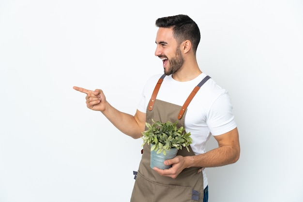 고립 된 식물을 들고 정원사 남자