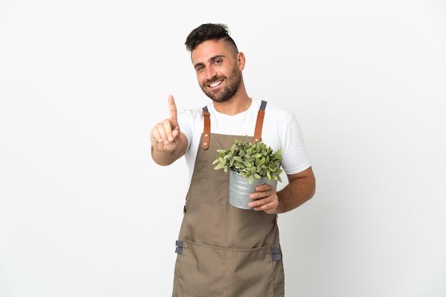 격리 된 흰색 배경에 식물을 들고 손가락을 들고 정원사 남자