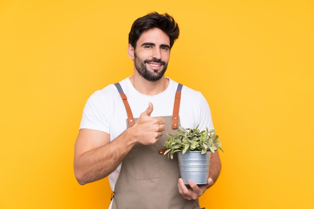 Gardener man with beard over isolated yellow wall giving a thumbs up gesture