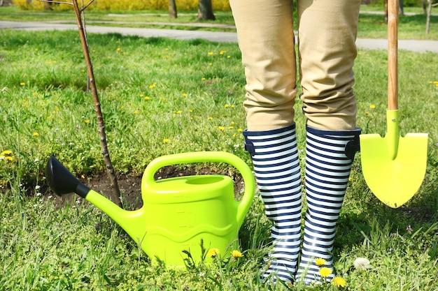 정원사 봄에 나무 심기